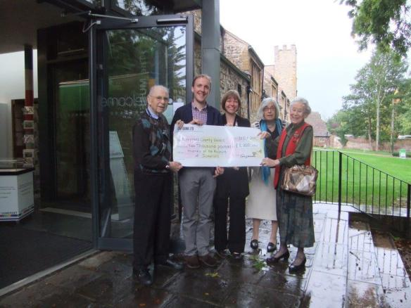 From L-R Mick Grigg, treasurer, Sam Astill, Assistant Curator, Susie Simmons, Visitor Services Manager, Felicity Hebditch, retiring Chairman, and Betty Carter, one of the longest serving members of the Friends.